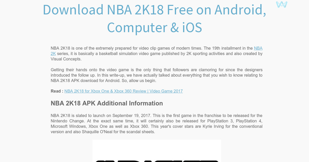 Download NBA 2K18 Free on Android, Computer & iOS